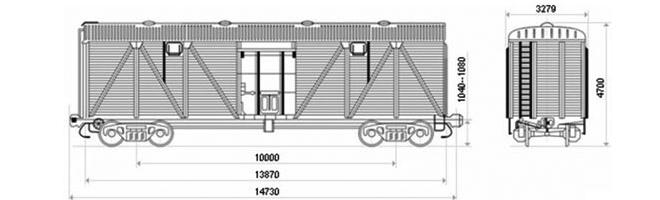 4-осный крытый вагон модели